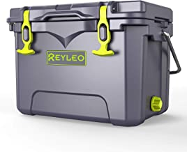 REYLEO Cooler, High-end Portable Rotomolded Cooler, 30-Can Capacity, 21 Quart, 3-Day Ice Retention, Bear Resistance, Camping Cooler, Ice Chest (Built-in Bottle Opener, Cup Holder,Fish Ruler,incl.)