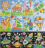 Queta Pegatinas de Mosaico para Niños Conjunto de 12 Dibujos Animados de Mosaico, Mosaicos Adhesivos de Arte Hecho a Mano DIY Kits de Artesanía de Manualidades para Niños Juguetes Educativos (Tipo-3)