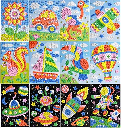 Queta Pegatinas de Mosaico para Niños Conjunto de 12 Dibujos Animados de Mosaico, Mosaicos Adhesivos de Arte Hecho a Mano DIY Kits de Artesanía de Manualidades para Niños Juguetes Educativos (TIPO-1)