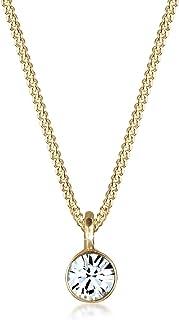 Elli Women 925 Sterling Silver Gold Plated Swarovski Crystal Necklace of Length 45cm