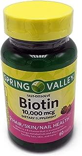Spring Valley Fast-Dissolve Biotin, 10,000 mcg, 60 tabs