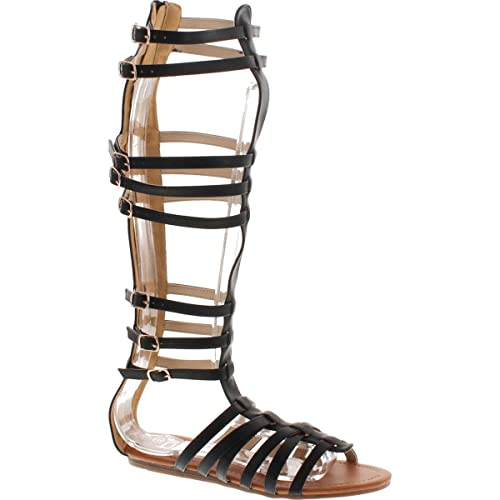 513764ec5e2 StyleUpGirl Monica-1 Knee High Gladiator Sandals Marcelino Black Brown Knee