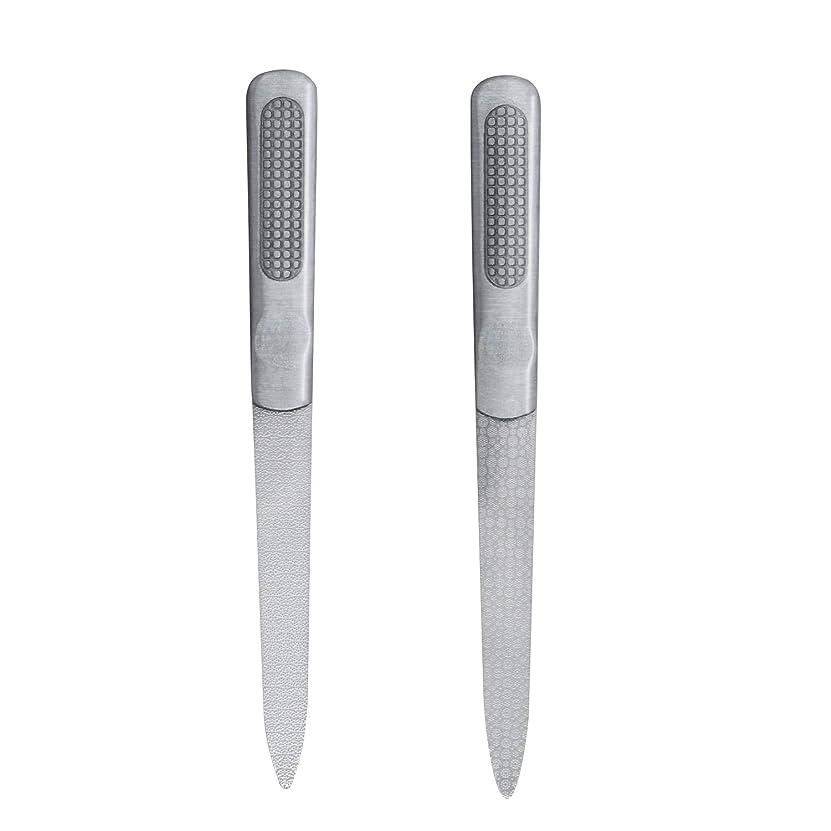 CIPOW爪やすり 両面タイプ ステンレスつめ削り 滑り止めのハンドル 爪磨き 2セット