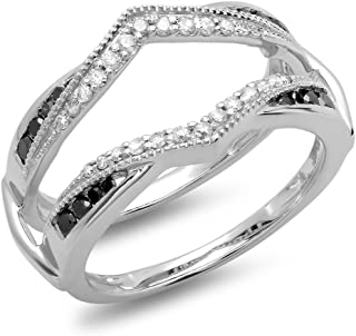 Dazzlingrock Collection 0.50 Carat (ctw) 14K Gold Black & White Diamond Ladies Wedding Enhancer Guard Double Ring 1/2 CT