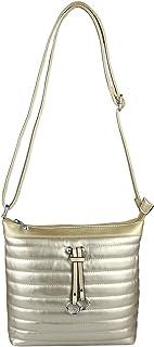 OBC ital-Design Damen Tasche im Metallic- Look Schultertasche Silber Gold Umhängetasche Handtasche Henkeltasche Gold