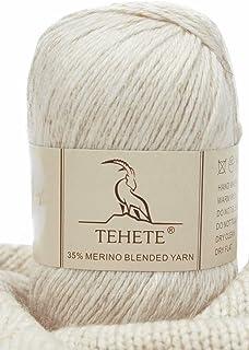 TEHETE Fil de Laine Merino à Tricoter, Pelote de Laine à Crochet, 4 Torons, 50g, pour Couverture, Chaussette Pull-Over Ech...
