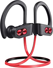 Mpow Flame S Wireless Headphones, Pro version aptX-HD Bass+ Sound Bluetooth Headphones, Bluetooth 5.0 IPX7 Waterproof Sports headphone, 12H Playtime, CVC 8.0 Noise Cancelling Mic,W/Carrying Case, Red