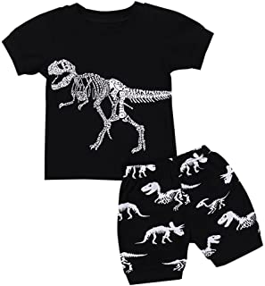 Hot Sale! Toddler Kids Baby Boys Dinosaur Pajamas Cartoon Print T Shirt Tops Shorts Outfits Set