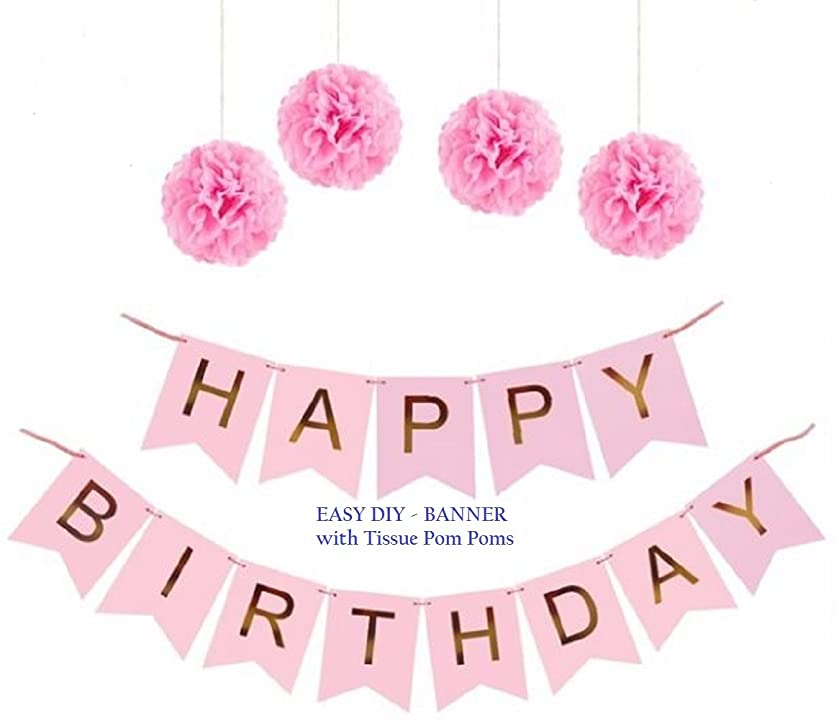 Pink Happy Birthday Party Banner - Pink and Gold Foil Letters – Paper Tissue Pom Poms Decoration - Celebration Sign Garland & Supplies - by Jolly Jon ? (Pink with Gold Letters)