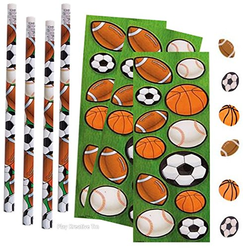 Sports Stickers, Pencil and Erasers Set - Play Kreative TM (SPORT BALL)