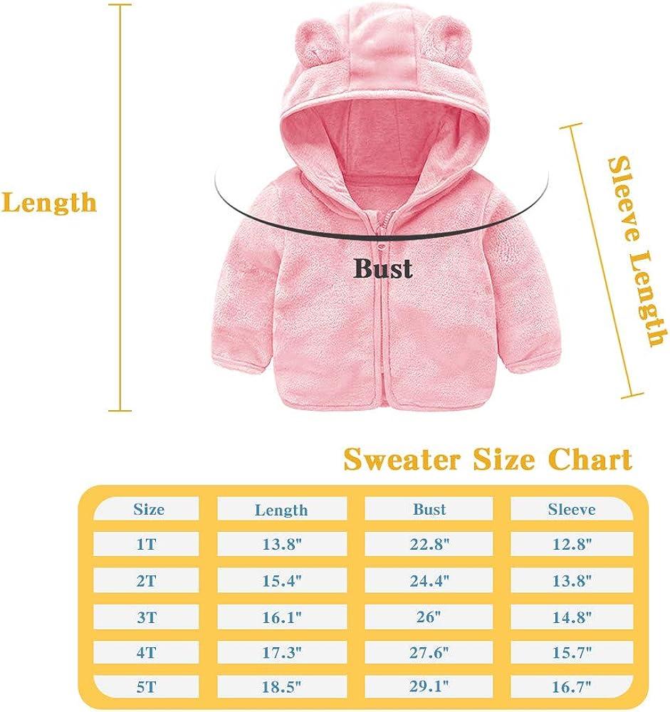 Peecabe Bear Ears Shape Fleece Warm Hoodies Clothes Toddler Zip-up Jacket Sweatshirt Outwear for Baby Boys Girls