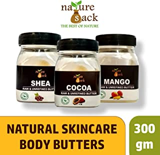 NatureSack-The Best Of Nature Unrefined Raw Cocoa, Shea and Mango Butter - Pack of 3 (300g)