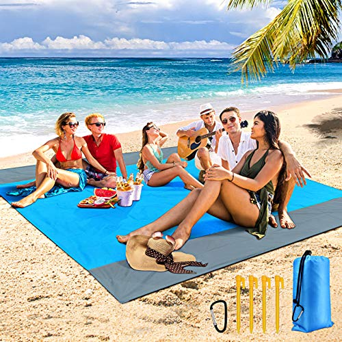 "Beach Blanket, Sand Free Waterproof Picnic Blankets Oversized 83"" X 79"" for 5-8 Adults, Portable Outdoor Beach Mat Lightweight and Durable, Easy to Clean for Camping Travel Hiking"