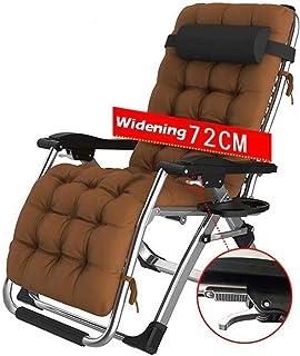 YLLXX Silla reclinable extra ancha para patio, reclinable y reclinable para exteriores, oficina, playa, 200 kg (color: con cojines marrones, tamaño: 72 x 75 x 80 cm)