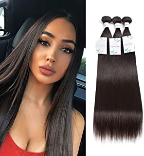 Yueruina 10A Brazilian Virgin Hair Straight Human Hair Bundles 100% Unprocessed 3Pcs Hair Extensions Natural Color Brazilian Hair Bundles (16 18 20 inch)