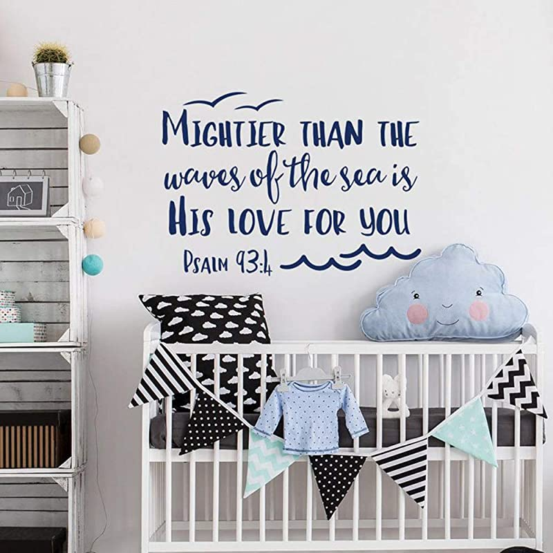 WSLIUXU Psalm 93 4 Is Stronger Than The Ocean Is His Love For You Vinyl Wall Decal Nursery Wall Art Decoration Bible Quote Home Garden Wall Sticker State Gray 42x30cm