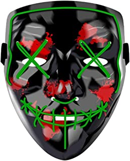 LED Halloween Mask - Halloween Scary Cosplay Light up Mask, EL Wire Mask Glowing mask for Halloween Festival Party (Red)