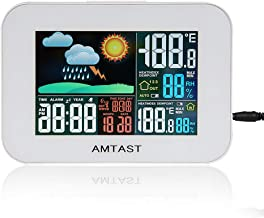 AMTAST Wireless Weather Forecast Station Temperature Humidity Meter Colorful LCD Display with Durable Weather-Resistant Remote Sensor
