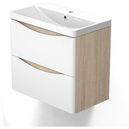 AICA sanitaire Meuble sous Vasque De Salle De Bain Suspendu Blanc et Bois Clair avec Lavabo Espace De Rangement 60cm