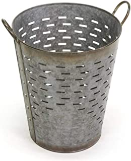 Durable Decorative Olive Basket Vintage | Free Standing Pail with Farmhouse Touch | Steel with 1 Quart Storage Capacity - Large