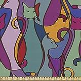 ABAKUHAUS Katze Gewebe als Meterware, Stammes-geometrischer