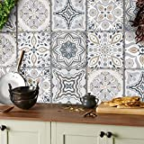 24x azulejos pegatinas Mezcla gris Lámina impresa 2d PEGATINAS grises lisas para pegar sobre azulejos cuadrados de 15cm en cocina, baños (15x15cm - 24 pegatinas)