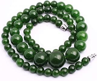 GEM-Inside Necklace Gemstone Green Jade Crystal Unisex Stands 21 Inches 6-14mm Fashion Jewellry Pendant Graduated