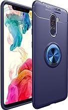 for Xiaomi Pocophone F1 / Poco F1 Case Metal Ring Holder Back Cover Ultra-Thin TPU Bumper-Blue Cover Blue Ring