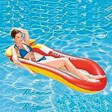 FANIER Flotante Colchoneta Piscina Adultos, Flotadores Piscina Hinchables para Piscina Cama de Agua Flotador de Malla Tumbona Inflable del Agua Hinchable Colchón de Aire Adultos (Naranja)