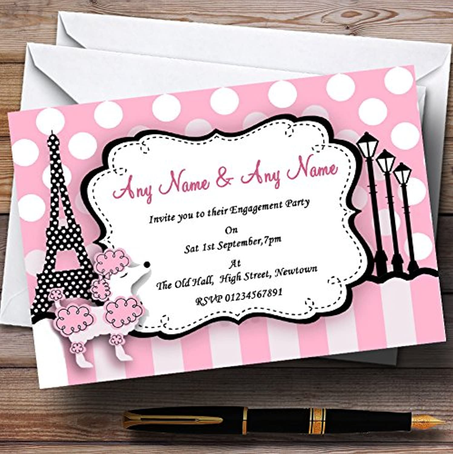 Pink Poodle Paris Engagement Party Personalised Invitations   Invites & Envelopes