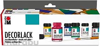 Marabu MR113000087 1130000000087 - Decorlack Acryl Starter Set, hochglänzender Acryllack auf Wasserbasis, wetterfest, speichelecht, zum Malen, Schablonieren und für Serviettentechnik, 6 x 15 ml Farbe und Pinsel
