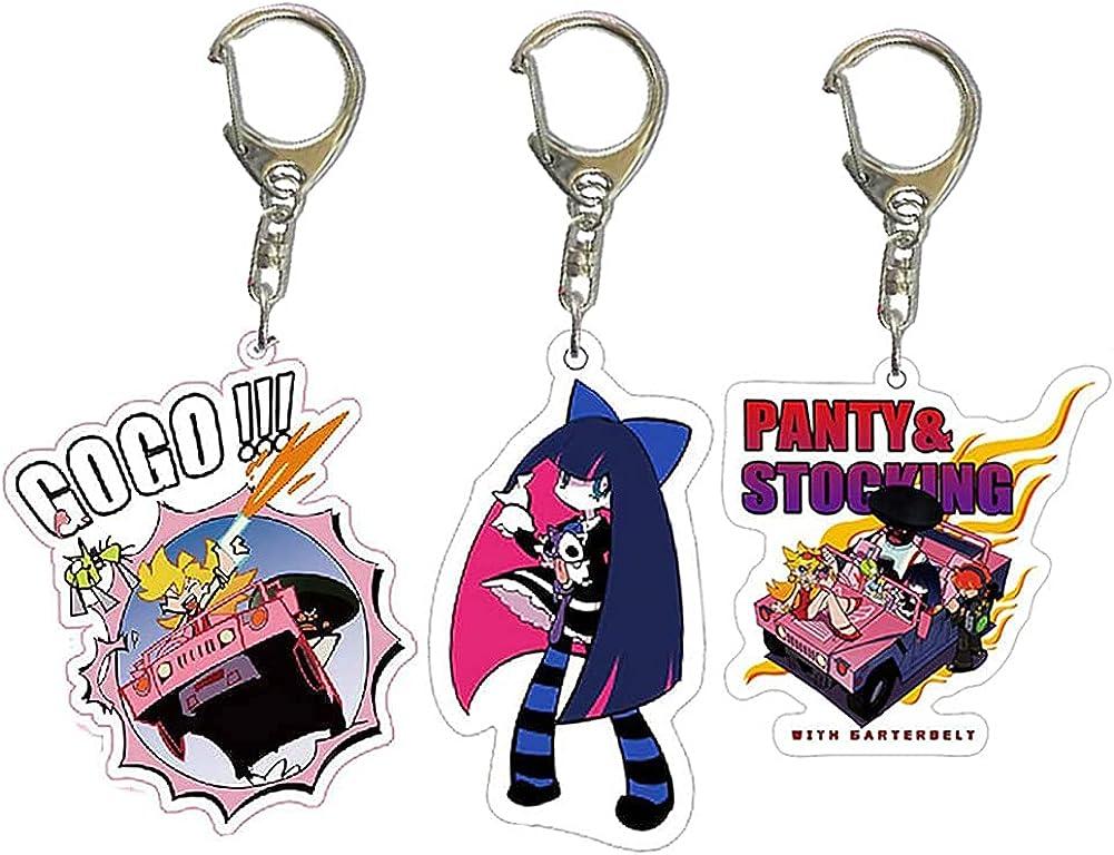 TLSD 3pcs Panty & Stocking with Garterbelt Keychains,Anime Stocking Anarchy Cosplay Costume Keyring Pendant