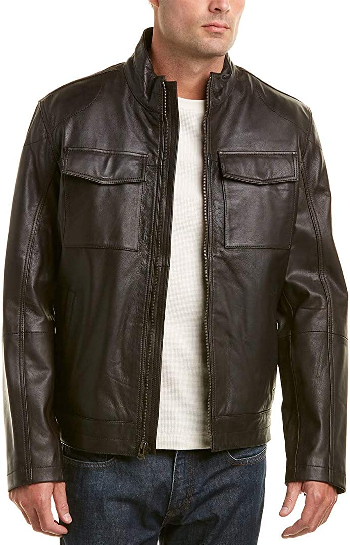 Cole Haan Men's Washed Leather Trucker Jacket