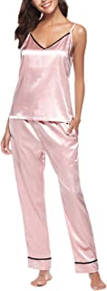 GAGA Women's Cozy Soft Satin Pajama Set Two Piece PJ Top and Long Pants Nightwear
