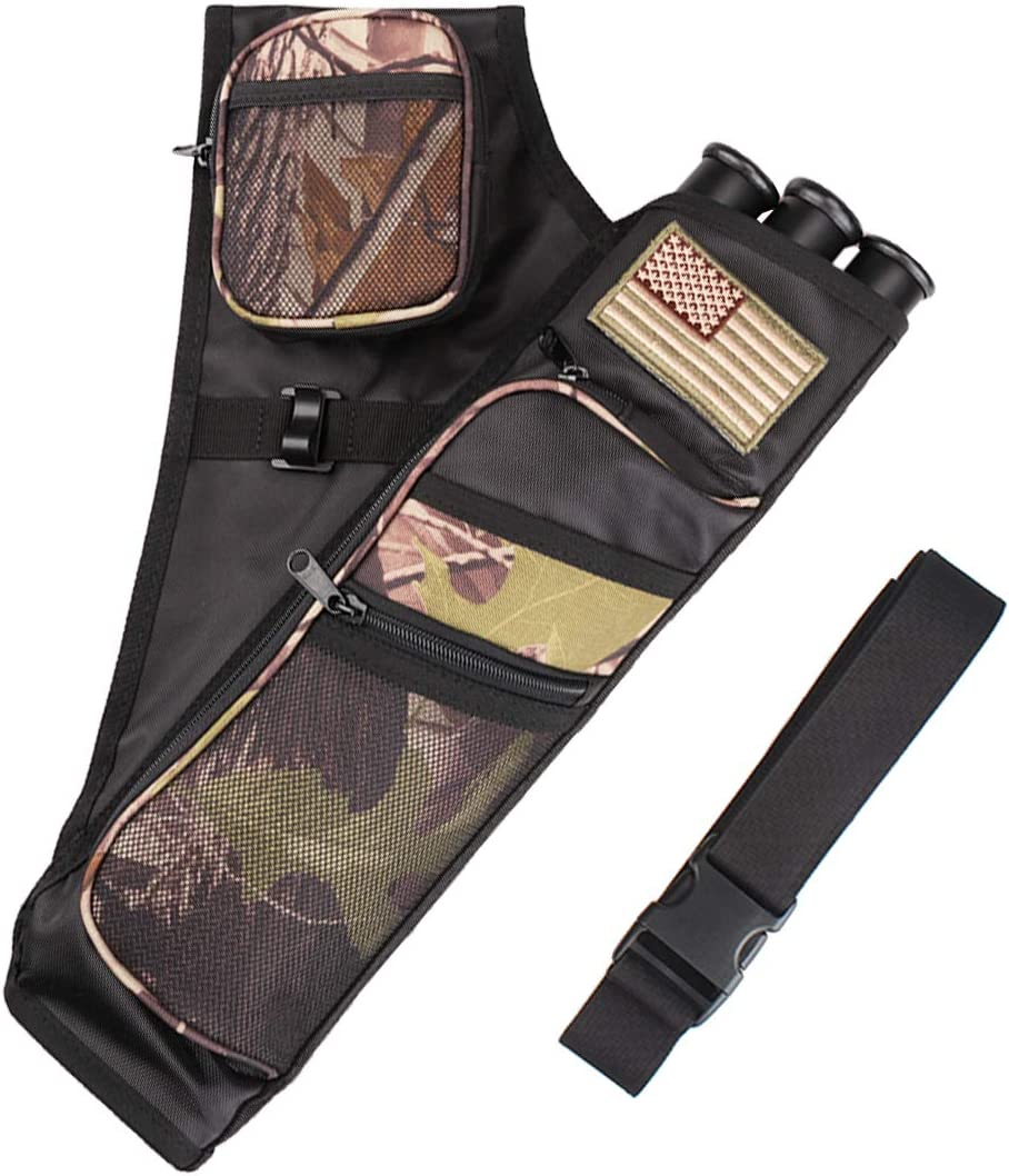 Kratarc 3-Tubes Hip Quiver Waist Hanged Camouflage Arrow Archery Carry Bag with Pockets Adjustable Belt (Camo) : Sports & Outdoors