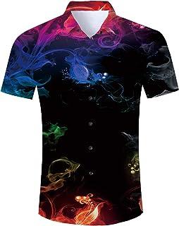 a530bae0 Uideazone Men Hawaiian Shirts Summer 3D Printed Short Sleeve Button Down Aloha  Shirt