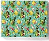Pintura acrílica de 40,6 x 50,6 cm por números, pintura acrílica para decoración de pared, hojas de palma de piña fresca, patrón de flores tropicales Frangipani