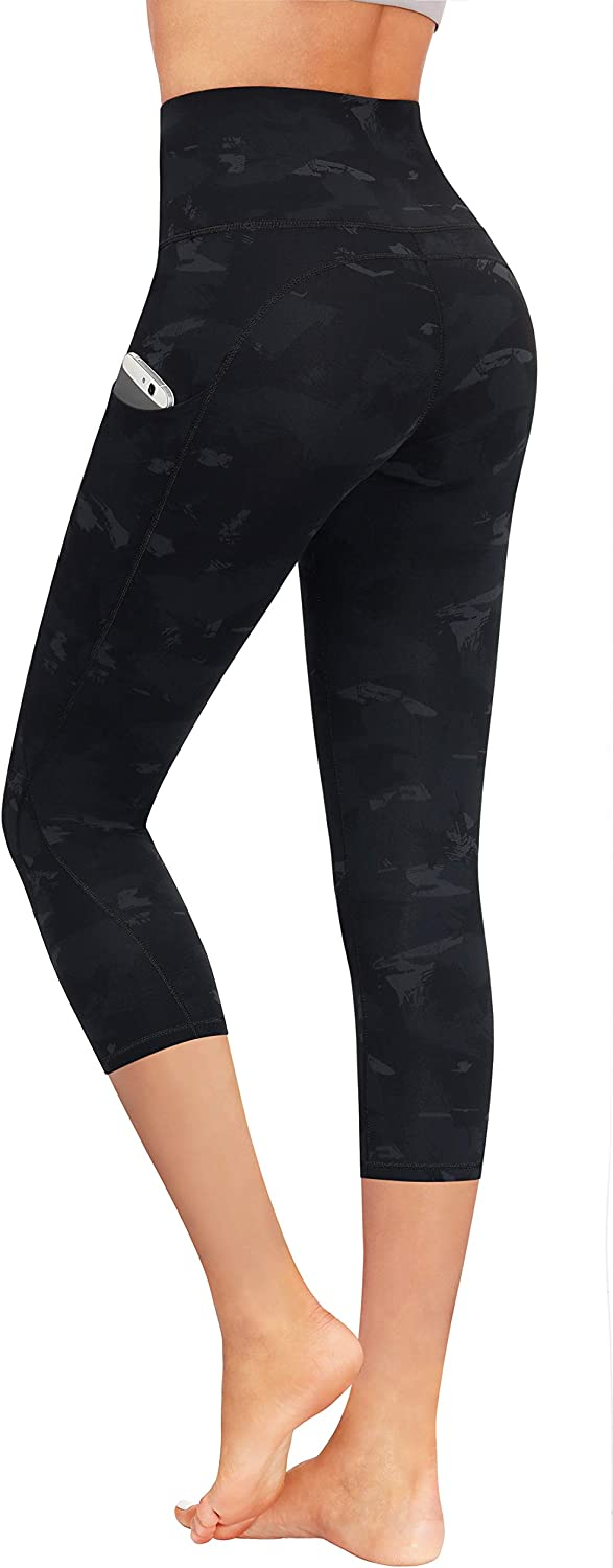 PHISOCKAT High Waisted Pattern Leggings with Pockets, Tummy Control 4 Way Stretch Women Yoga Pants