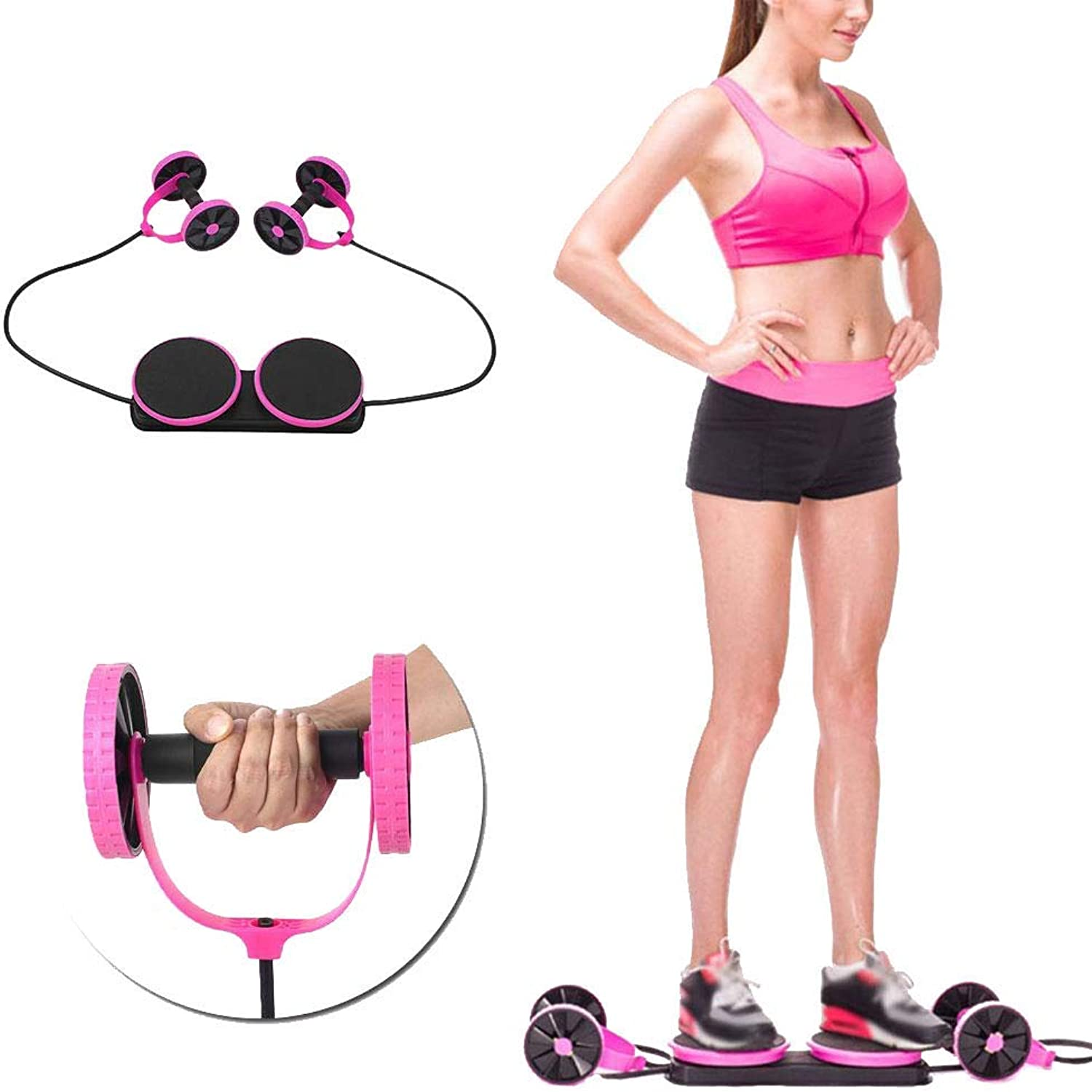New Sport Core Double AB Roller Wheel Fitness Abdominal Exercises Equipment Waist Slimming Trainer at Home Gym