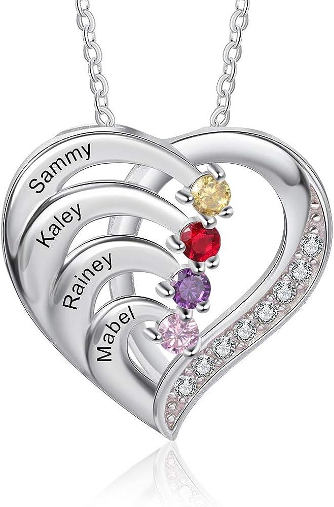 買取 Ashleymade Personalized Hearts Necklace 高級な Simulated Birth 2-6 with