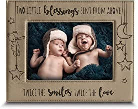 BELLA BUSTA- Twice The Blessings from Above,Twice The Smiles, Twice The Love-Twins New Baby Gift-Twin Frame Boy Twins Girl Twins-Nursery Decor-Engraved Leather Picture Frame (5