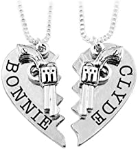 Art Attack Thelma & Louise Bonnie & Clyde Gun Revolver BFF Best Friends Broken Heart Partners in Crime Bandit Bag Pendant Necklace