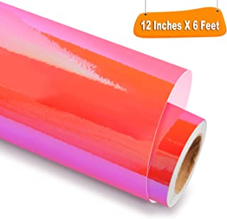 Holographic Opal Adhesive Craft Vinyl 12 Inch X 6 Feet, Hot Pink