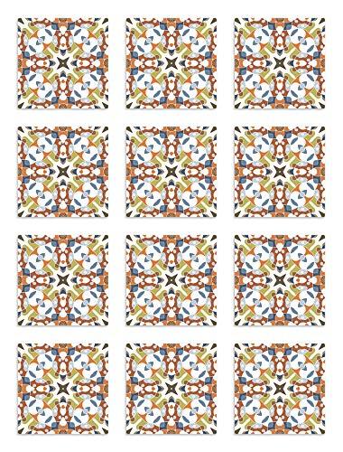 Panorama Azulejos Adhesivos Cocina Baño Pack de 24 Baldosas de 20x20 cm Azulejo Hidráulico Tipo Oriental Original - Vinilos Cocina Azulejos - Revestimiento de Paredes - Cenefas Azulejos Adhesivas