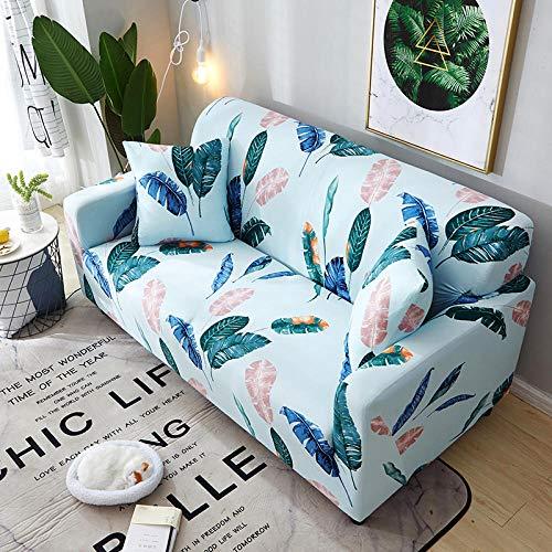 WPHRL 2 plazas Funda Sofa Azul Verde Elasticas Hojas Impresas Fundas de Sofa Antideslizante Forros para Sofas Anti Arañazos 145-185cm