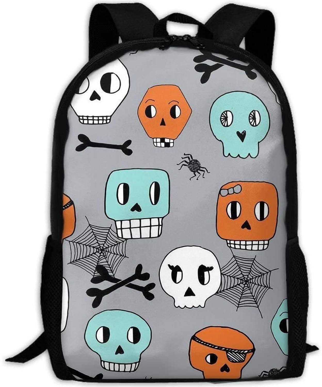 Fgregtrg Stylish Skulls Halloween Orange Mint grau ider iderwebs iderwebs iderwebs Laptop Rucksack Schulrucksack Backpack B07L4CJ3NJ  Beliebte Empfehlung 44a74e