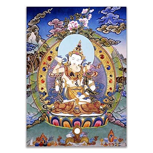 XIAOLUTIANM Thangka Croyance Thangka Yamantaka Bouddha Toile Religieuse Imprimé Peinture Poster Art Art Art pour Salon Couloir Décoration de la Maison (Color : A, Size (inch) : 70x98cm No Frame)