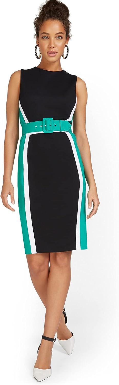 New York & Co. Women's Tall Colorblock Ponte Sheath Dress