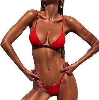 bikini sexy 2 piezas top señora brasileña comodo oferta barato verano 2019 Todo de Rojo
