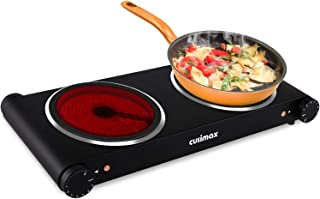 Cusimax 1800W Ceramic Hot Plate, Portable Infrared Burner, 7 Inch Glass Double Burner, Dual Countertop Electric Cooktop, Stainless Steel